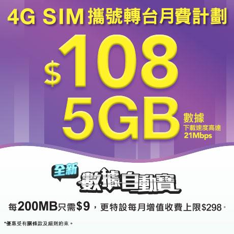 4G 21M SIM 月費計劃